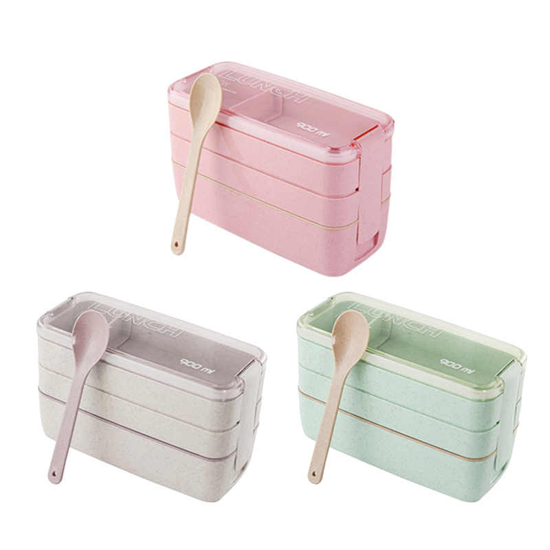 3 Layer Creative Plastic Lunch Boxes Containers for Food Microwave Bento Box For Student Portable Food Storage Lunch Case Picnic