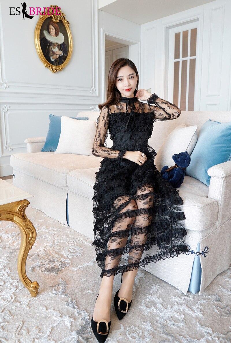 Décontracté Simple robes De soirée longue noir pile-up gâteau Robe De soirée col rond Robe élégante Robe De soirée Robe De soirée ES1890