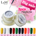 3 Pcs Set Kit Lvmay Brand Painting Gel Polish Nail Art Color 3D Drawing Paint Curing Lamp Soak Off Professional Nails Top It Off