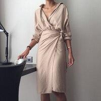 Женское Новое модное Повседневное платье с v-образным вырезом, однотонное свободное платье с длинными рукавами 2018
