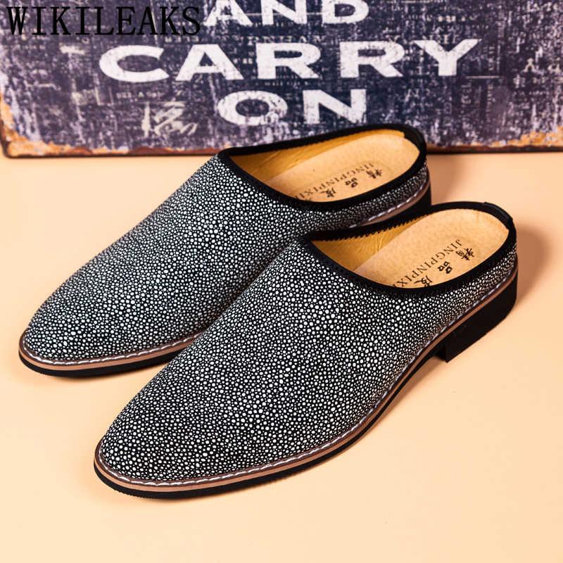 Medio zapatos para hombre de cuero coiffeur zapatos casuales para hombre Venta caliente zapatos italianos de mule masculino deslizamiento de diseñador en zapatillas de hombre buena