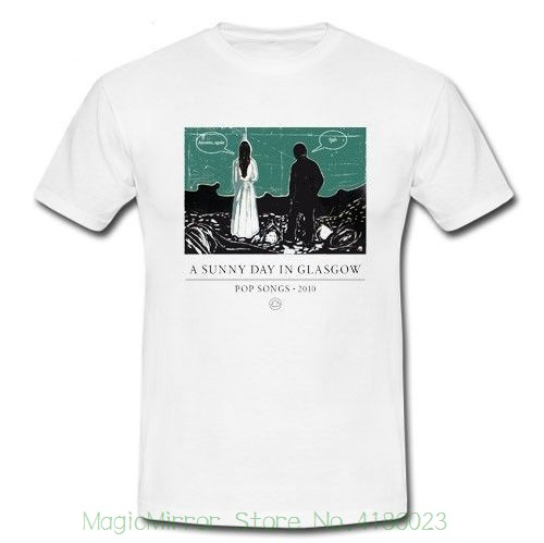 A Sunny Day In Glasgow Pop Song 2010 Autumn , Again White T-shirt S M L Xl 2xl Men Adult T Shirt Short Sleeve Cotton image