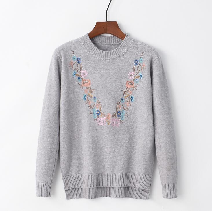 18 Pull Femme Women Floral Embroidery Sweater O-neck Long Sleeves Knit Jumper Jerseys 9 Colors Soft Pullover 2