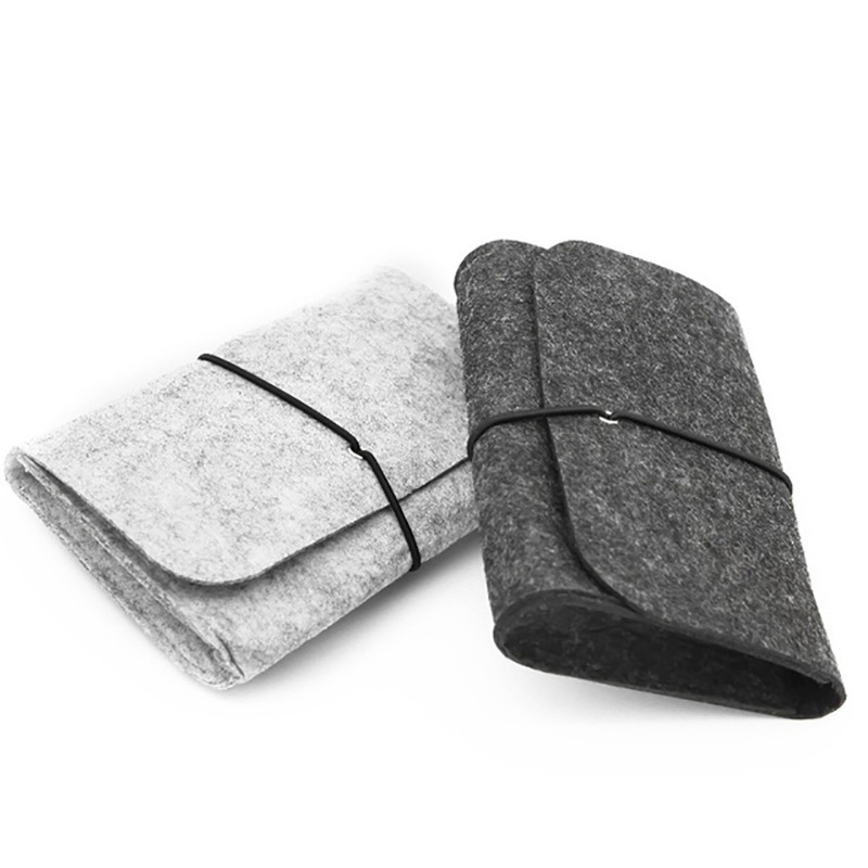 Wool Fiber Power Bank Storage Bag Mini Sofe Felt Pouch For Data Cable Mouse Travel Organizer Electronic Gadget Organizador Bag