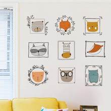 Cartoon Photo Frame Owl Fox Wall Sticker DIY Removable Vinyl Decal Children Kids Bedroom Decoration Home Decor Mural Art Poster(China)