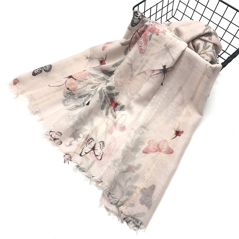 1PC New Muslim hijab women scarf/scarves wraps fashion foulard viscose small sequins flower butterfly print fast shipping