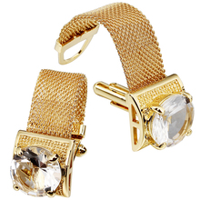 HAWSON Mens Cufflinks with Chain - Stone and Shiny Gold Tone