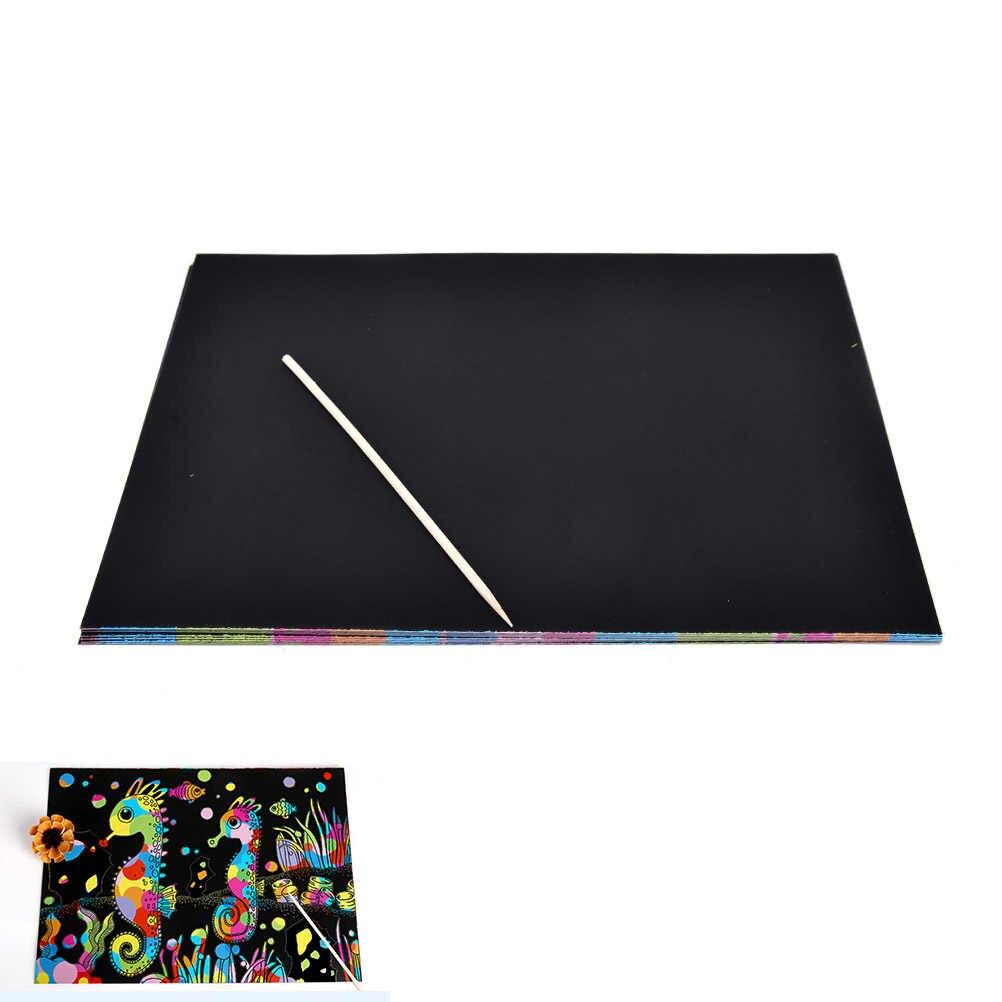 ZTOYL 10 Lenzuola Arcobaleno Scratch Colourful Stencil Art Mestiere di Carta Incisione Con La Penna carta Da Disegno giocattoli