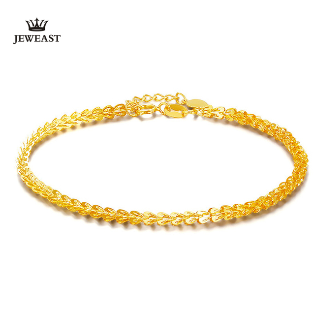 JEWEAST 18K Gold Bracelet For Women Genuine Yellow Gold Hand Jewelry Wedding Engagement Female Real Gold Bangle upscale hot sale
