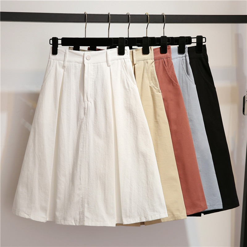 Womens A-line Skirt Casual Fashion High Waist Skirts Solid Color Girls Mid Pockets Skirt