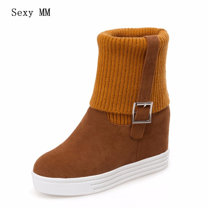 Autumn Winter Women Ankle Snow Boots Wedge Height Increasing Woman Short Boots High Quality Plus Size 34 - 40 41 42 43 botas