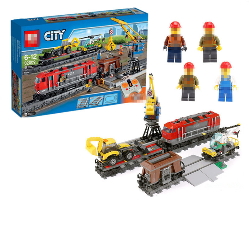 02009 Diy building Model city Heavy-haul Train compatible with legoingly 60098 Toys Building Blocks Toys for children study cool lepin 02012 city deepwater exploration vessel 60095 building blocks policeman toys children compatible with lego gift kid sets