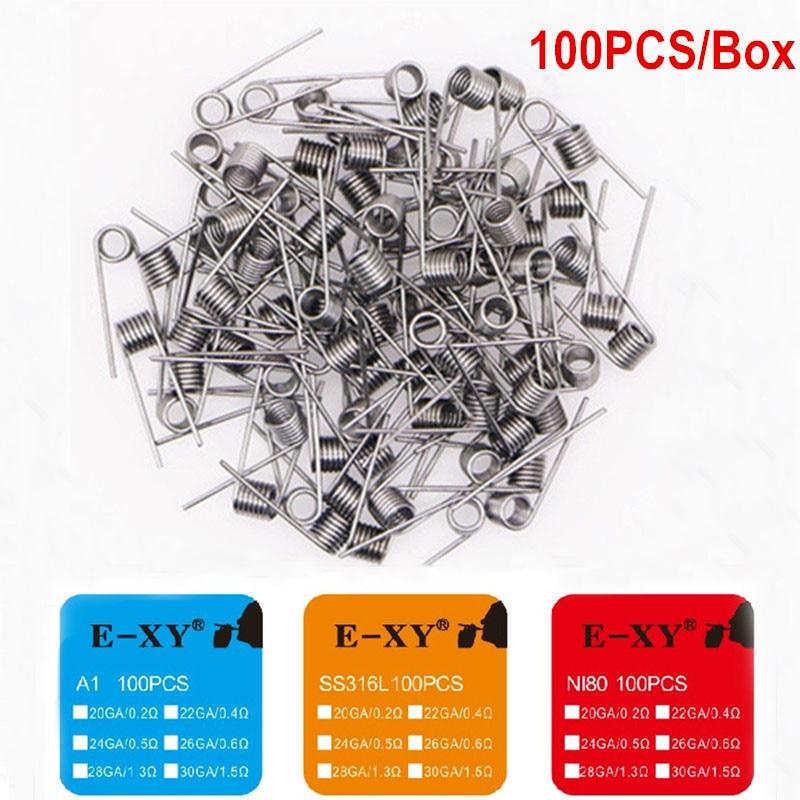 E-XY 100pcs Prebuilt Coils RDA Atomizer Wick Wire Electronic Cigarette Coil Premade Coil NI80 Pre Coiled Resistance Heating Wire