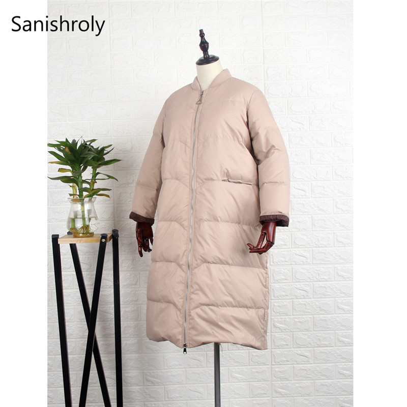 Sanishroly Women Long   Coat   Autumn Winter White Duck   Down   Jacket Female Warm Thicken   Down     Coat   Parka Outerwear Tops Plus Size 629