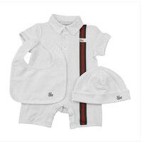 2018 3PCS Set New Brands Baby White Romper Unisex Cotton Short Sleeve Newborn Baby Romper Clothes