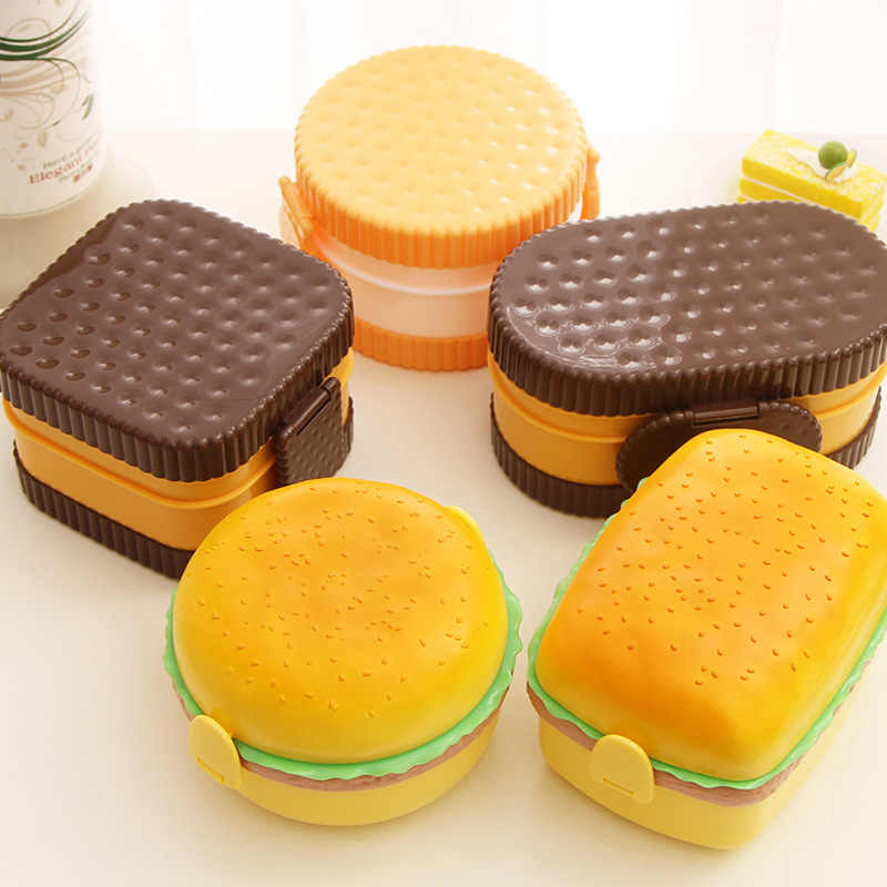 New Cute Hamburger Double Tier Lunch Box Burger Box Bento Lunchbox Children School Food Container Tableware Set with Fork Kids