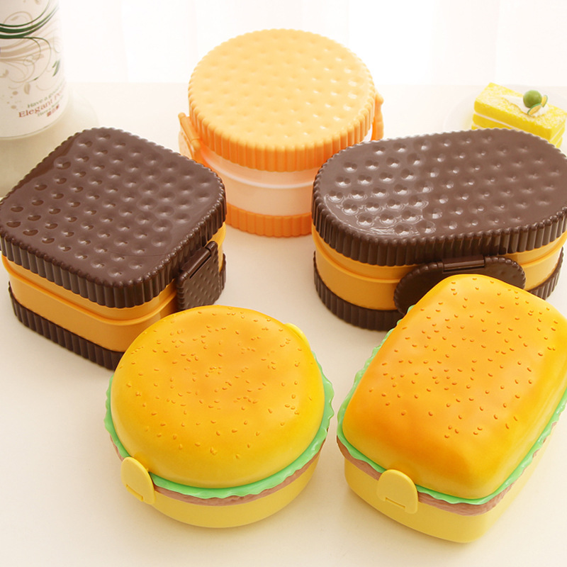 New Cute Hamburger Double Tier <font><b>Lunch</b></font> <font><b>Box</b></font> Burger <font><b>Box</b></font> Bento Lunchbox Children School <font><b>Food</b></font> <font><b>Container</b></font> Tableware Set with Fork Kids image