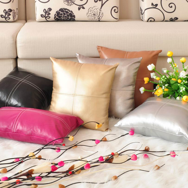 Glossy Soft Metallic Solid Color PU Leather Cushion Cover
