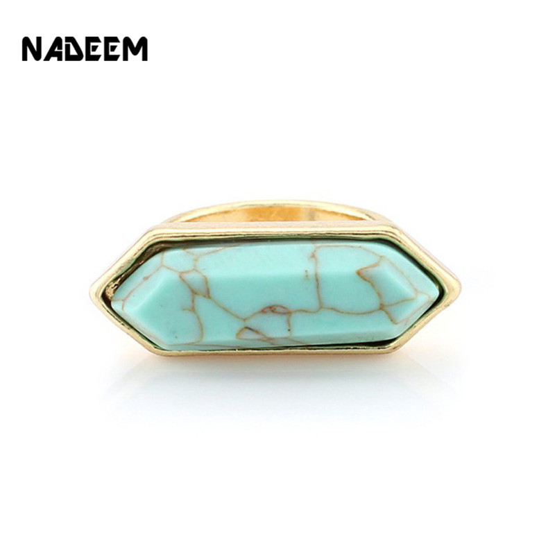 Stone-Ring Geometric Faux-Marble Green Women Gold-Color White Fashion Newest-Arrival