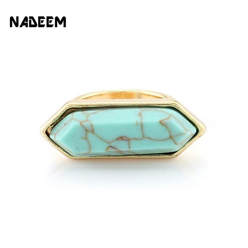 Новые прибытия золотые Цвет Мода Bohe Геометрическая стрелка Форма Howlite белый зеленый искусственный Мрамор камень кольцо для Для женщин пода...