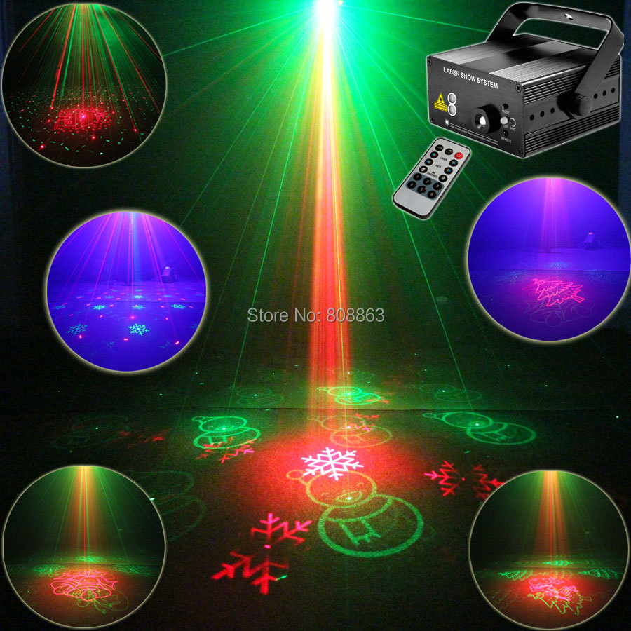 Blue Led R&G 3 LENS Laser 16 Christmas Patterns Projector Club Party Bar DJ Holiday Light Disco Dance Party Stage Lights T27