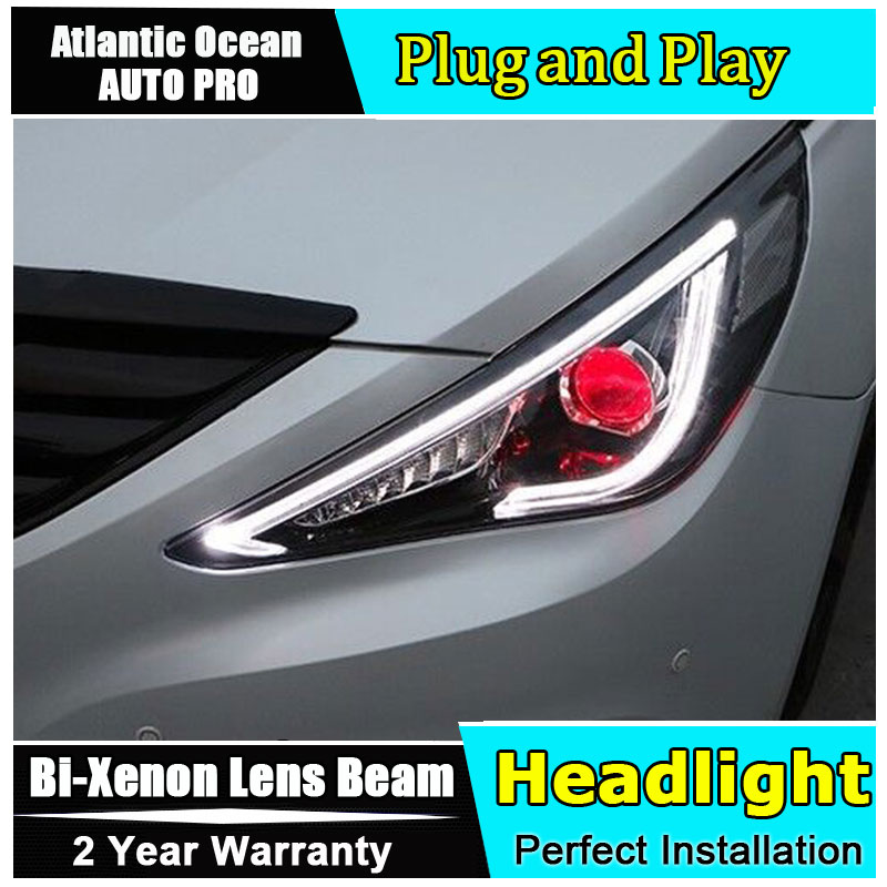 Auto part Style LED Head Lamp for Hyundai Sonata led headlight 2011-2015 for Sonata drl H7 hid Bi-Xenon Lens angel eye low beam headlight for kia k2 rio 2015 including angel eye demon eye drl turn light projector lens hid high low beam assembly