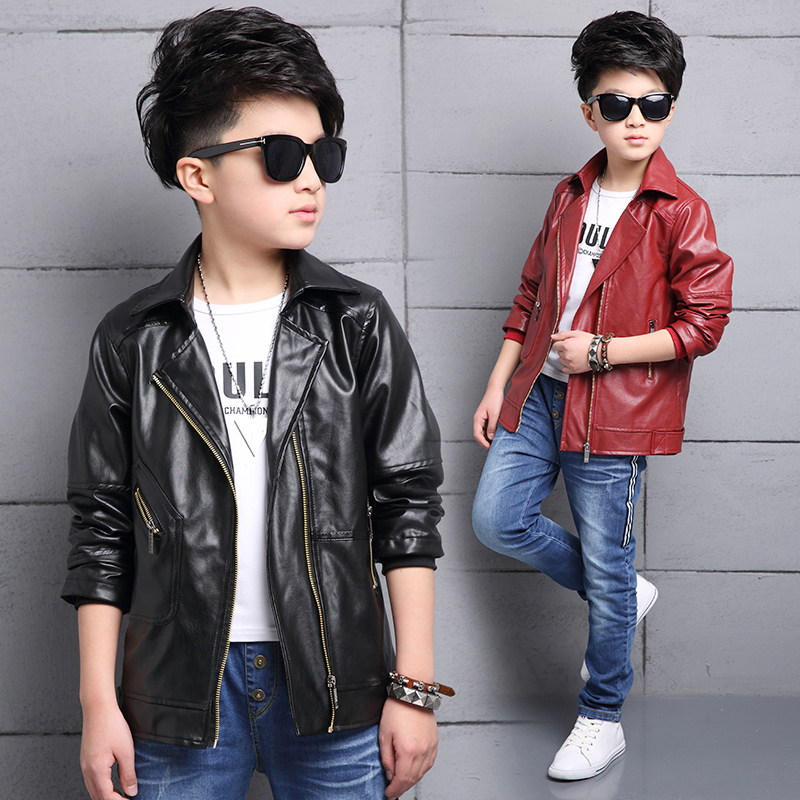 2017 Boys Coats Toddler Faux Leather Jackets Teens Children Fashion Outerwear Spring PU Motorcycle Waterproof Clothing 2017 fashion teenager motorcycle coats boys leather jackets patchwork children outerwear letter printed boy faux leather jacket