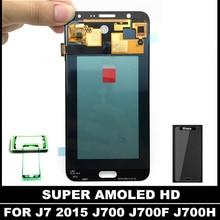 Super AMOLED LCD Para la Galaxia J7 2015 J700 GRAN MURALLA J700H J700M Pantalla LCD Asamblea Digitalizador de Pantalla Táctil con la Etiqueta Engomada