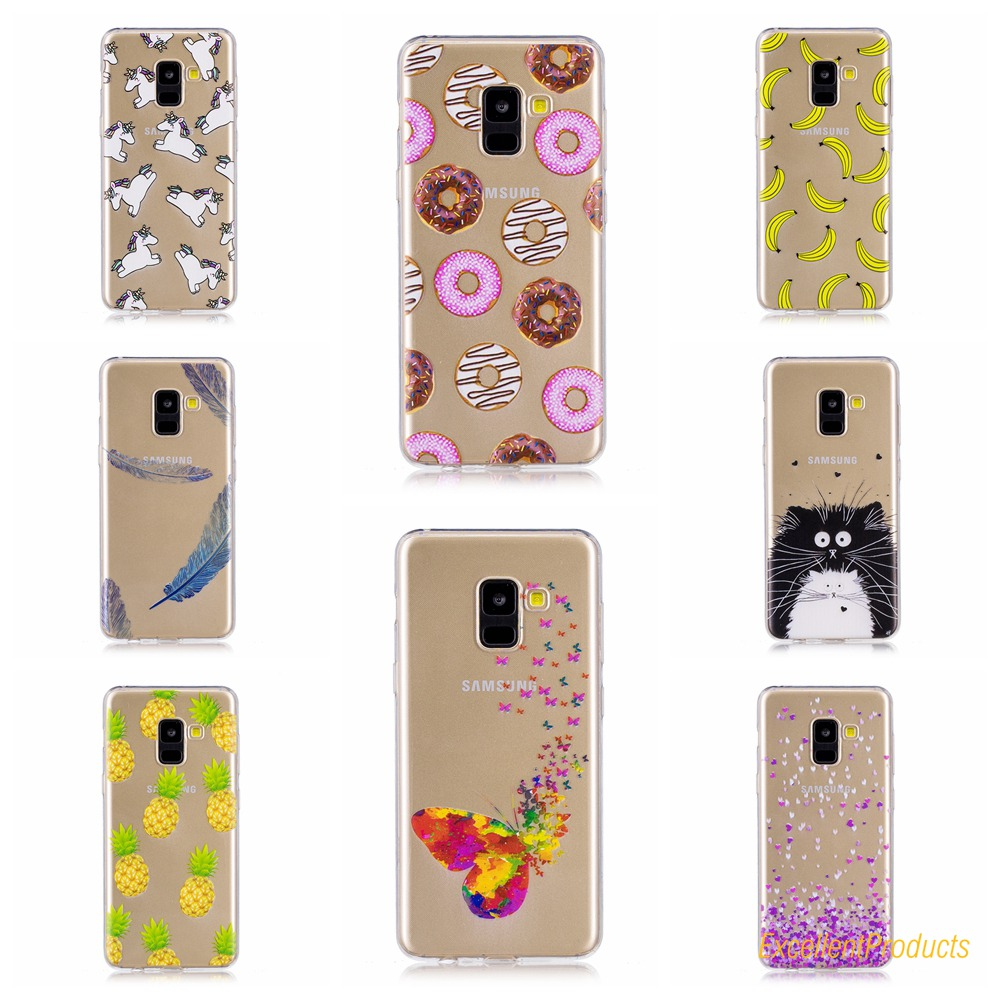 For Samsung A7 2018 phone case conque etui caso capa Lovely Stylish Printing Soft Silico ...