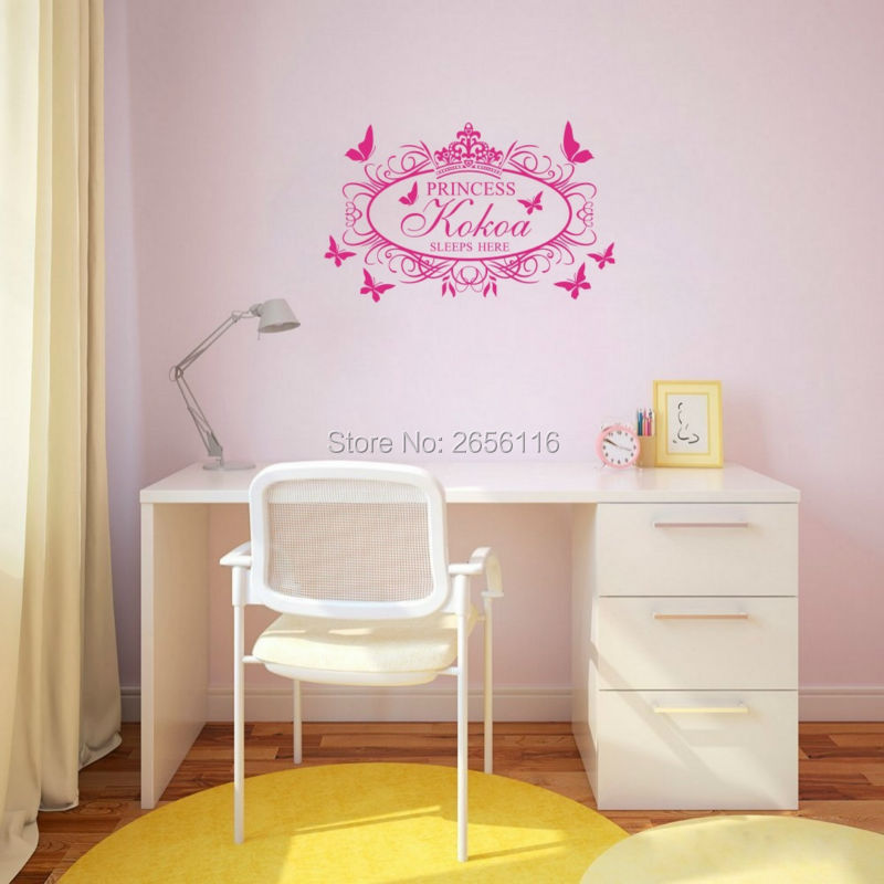 Personalized Girls Name Decorative Crown Damask Butterflies Wall Decal Princess Sleeps Here Vinyl Mural Sticker for Girls Room
