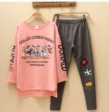 Cartoon Spring autumn sleepwear ladies's  long-sleeve pullover informal lounge set pink Cotton mixing Cute pajamas free delivery