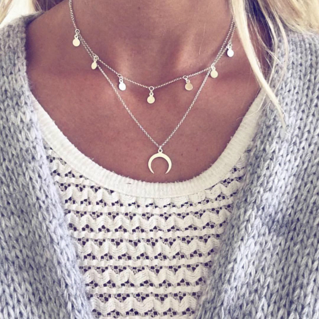 New Necklace Multi-layer Wafer Moon Necklace Selling Jewelry Wholesale Fashion Necklace With Silver Joker Female Necklace