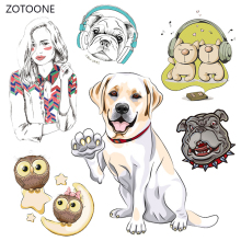ZOTOONE Animal Dog Set Stripes Patches Iron on Transfer for Girl Kids T-shirt Clothing DIY Heat Stickers G