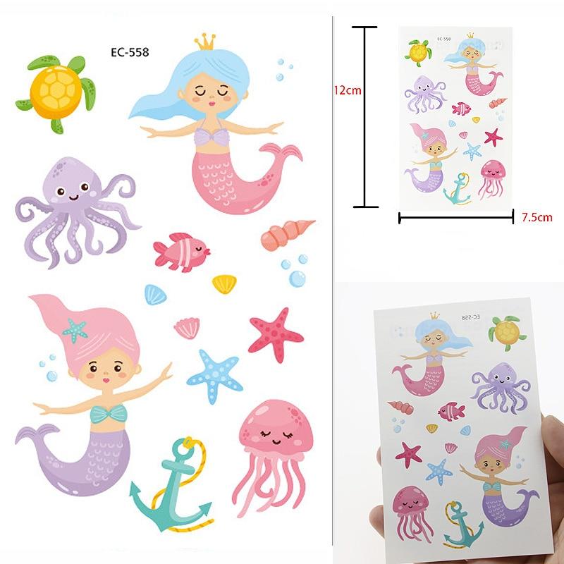 Mermaid Waterproof Temporary Tattoo Stickers Girls Fake Flash Tattoo Body Art Xmas Gift Children Toys Tatoo Octopus