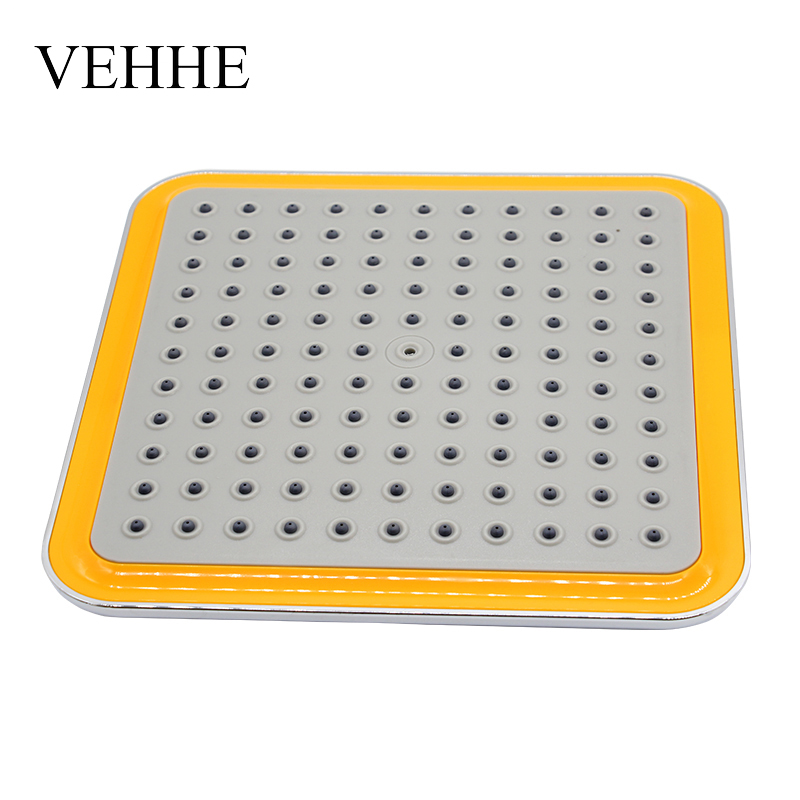 VEHHE 8 Inch Wide Square Yellow ABS Chrome Waterfall Shower Heads Rainfall Shower Head Durable Top Handhled Shower Nozzle cropped wide sleeve top