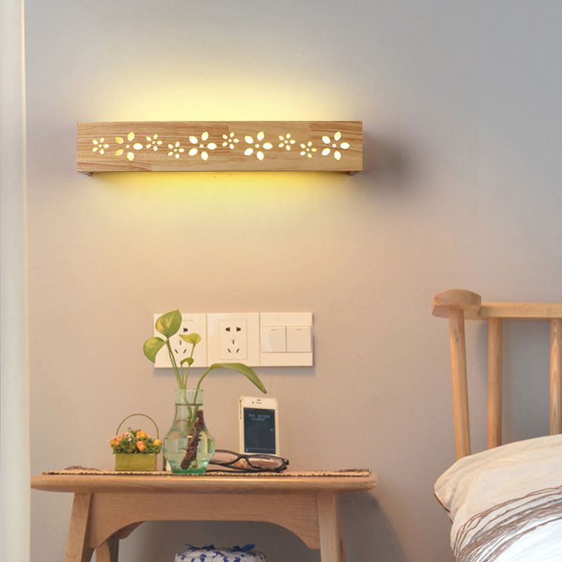 Contemporary  sconce led wall lights lighting fixtures wood + acrylic shade surface mounted wall lamp bedroom Mirror front light three dimensional 3d visual reading lights wood acrylic clear small lamp button type led stereo night light folding book lights