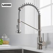 MOIIO  NEW Single Handle Kitchen Faucet With Spring Brushed Nickel Pull Out Sprayer Single Lever Pull Down Kitchen Sink Faucets цена