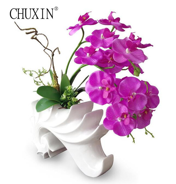 Europe Simple Style Artificial Orchid Flower With Leaf Vase Set Silk