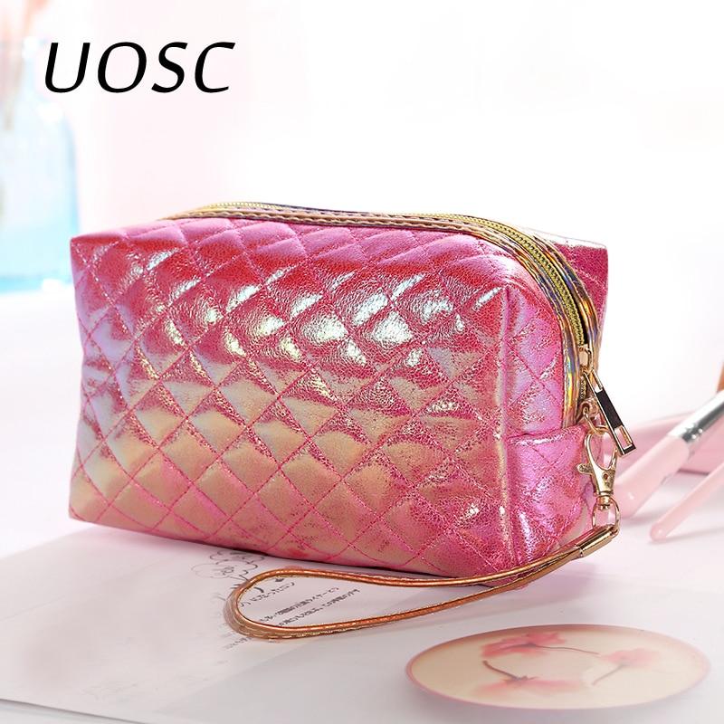 UOSC Fashion Women Travel Portable Cosmetic Bag Multifunction Organizer Zipper Makeup Bag Case Toiletry Storage Pouch Handbag