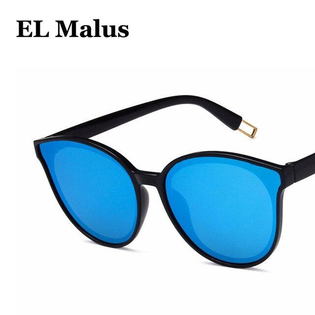 c377cea107  EL Malus New Fashion Sexy Cat Eye Big Frame Brand Designer Sunglasses Women  Reflective