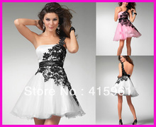 Hot Sell Pink One Shoulder Short Lace Party Homecoming Dresses Low Back E762