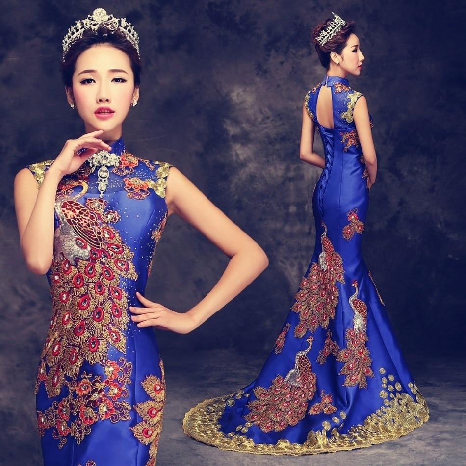 2016 de lujo rojo bordado chino vestido de noche largo cheongsam ...