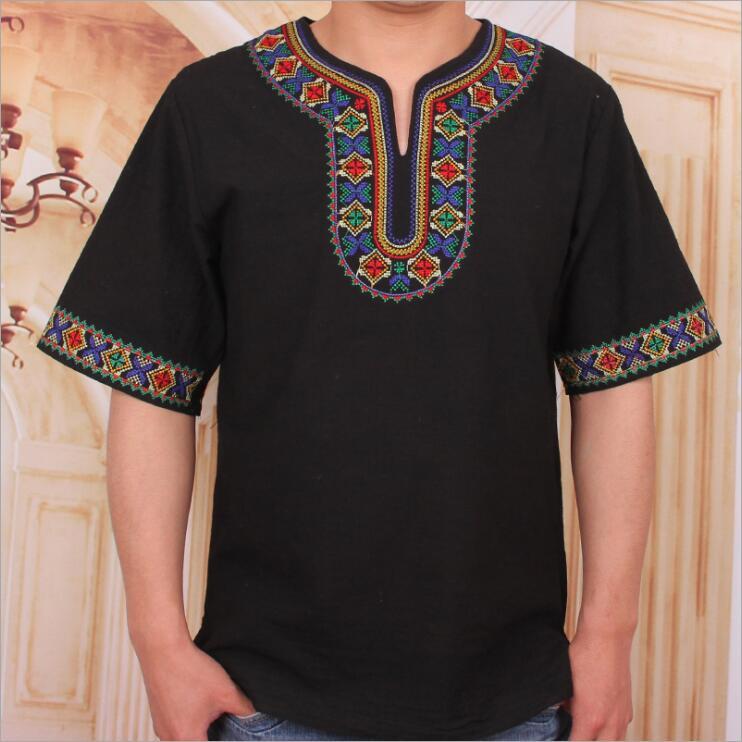 Xinjiang features T shirt men cotton and hemp half sleeve aiguzali ethnic costume adult short embroidery
