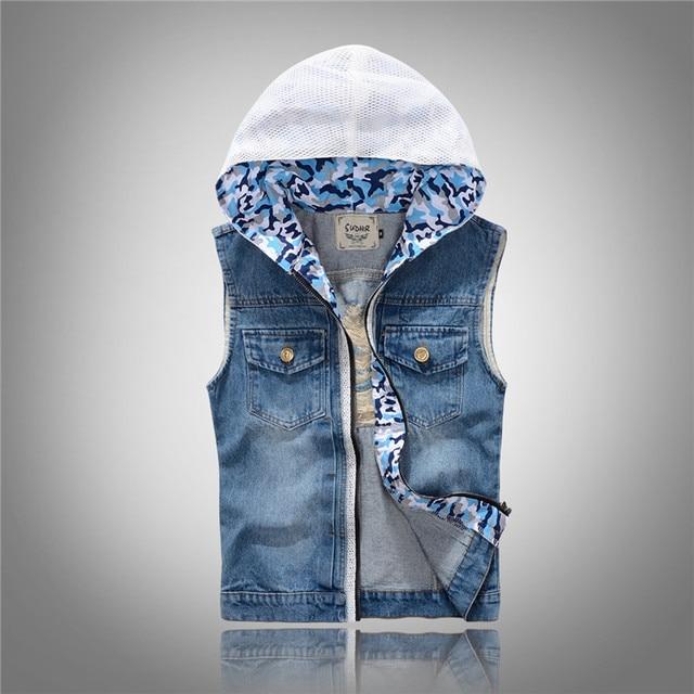 2015 Summer Mens Sleeveless Jacket Hooded Light Blue Zipper ...