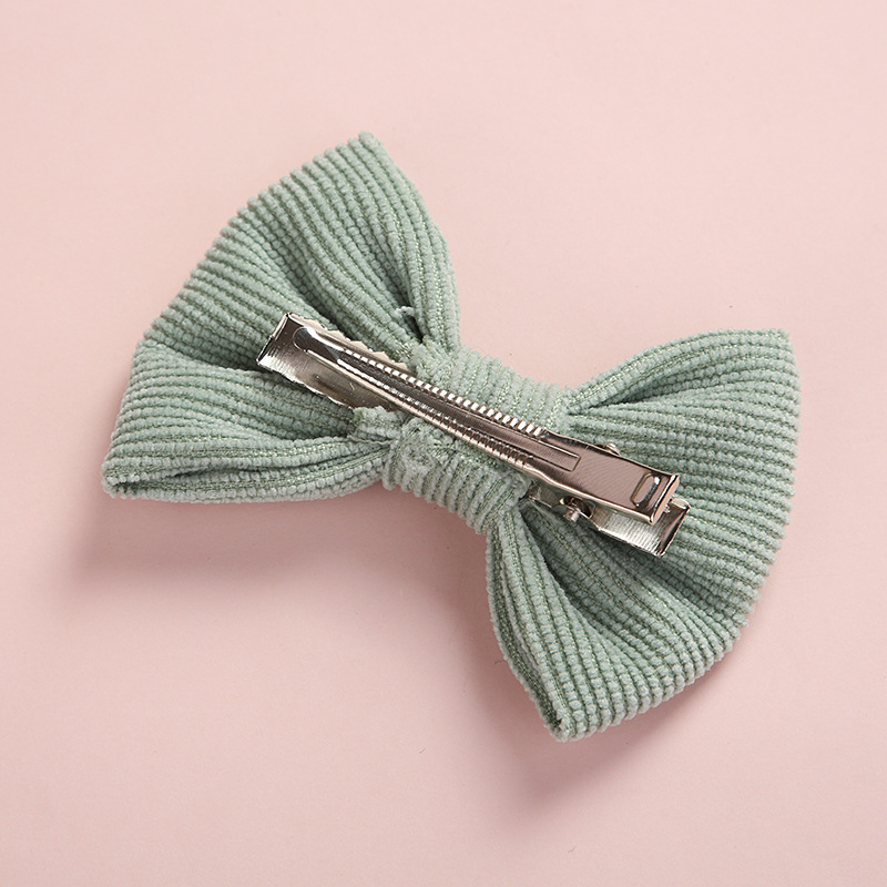 Image 5 - 20 pcs/lot, Corduroy Fabric Bow Nylon Headbands or hair clips, Photography Prop baby shower gift-in Hair Accessories from Mother & Kids