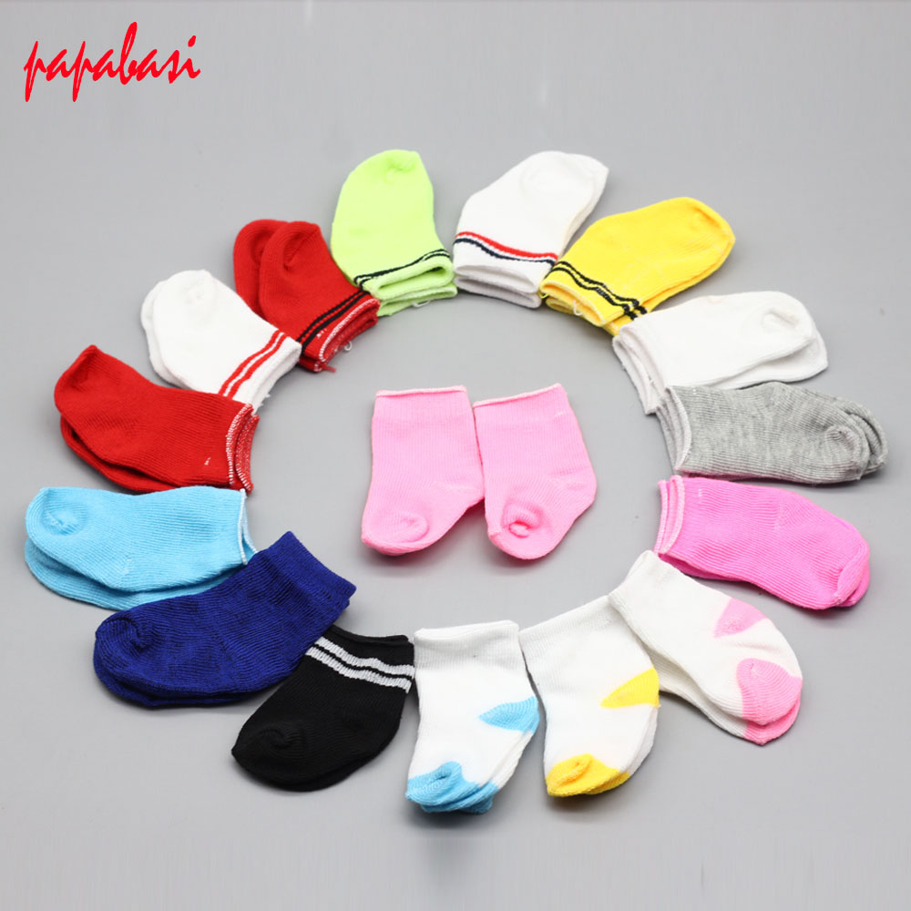 5Pair/lot Mini Sock Fit 43cm Baby 18 Inch Doll Clothes Accessories For Dolls Baby Best Christmas Gifts(China)