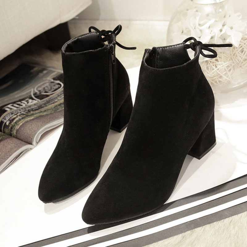 Masorini 2018 Women Boots Flock Ankle Boots Round Toe Winter Women Boots Ladies Western Stretch Fabric Boots Big Size W-186 2