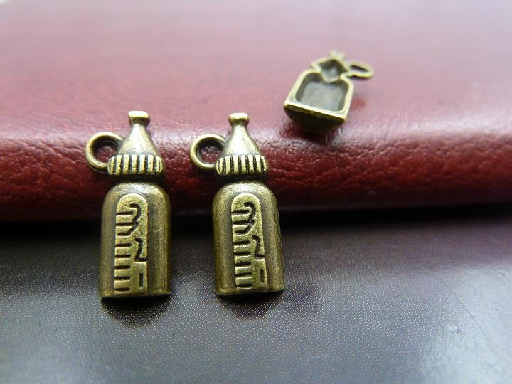 50pcs wholesale vintage alloy fashion accessories Antique Bronze Small Bottle Charm DIY Jewelry Making Accessories Free Shipping