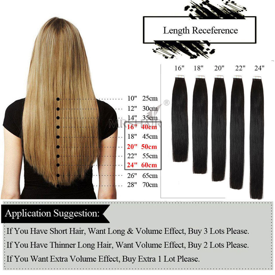 Mrshair 27 Tape In Hair Extensions 16 18 20 22 24 Adhesives