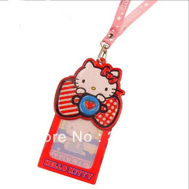 Hello Kitty badge Card Holder For ID Card Bank Card Lovely Student  Identification Card Holder 5pcs/lot Free Shipping-in Badge Holder   Accessories - student identification card